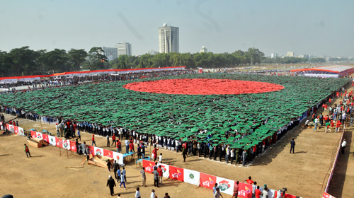 Guinness World Records endorses Bangladesh largest human flag