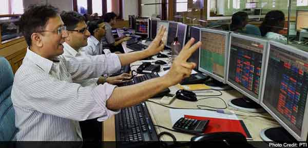 Sensex soars 318 points