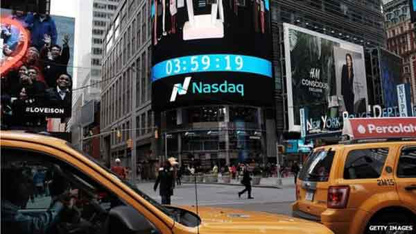 Nasdaq index closes at a record