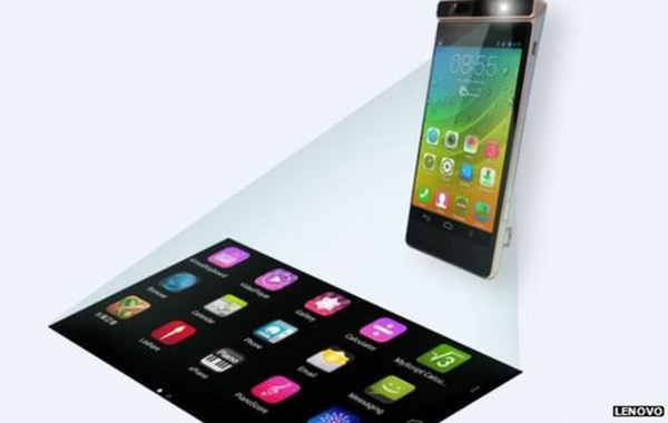 Lenovo phone features virtual keyboard