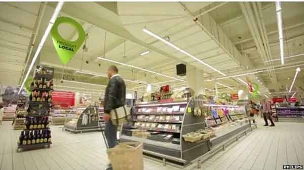 Supermarket lights send 'GPS' data