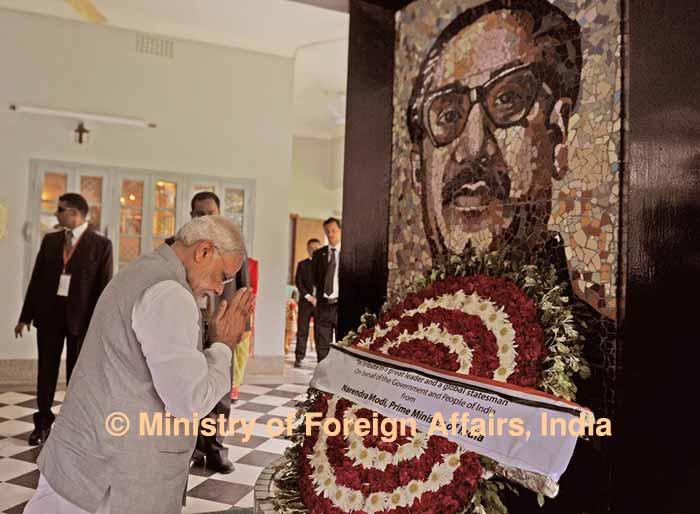 Modi pays tribute to Bangladesh war heroes, Bangabandhu