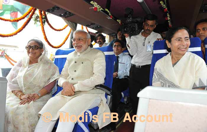 Modi, Hasina, Mamata flag off two special bus services