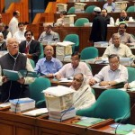 Bangladesh Finance Minister AMA Muhith placing BDT 2.95 trillion (US$37.93 billion)  budget outlays for the fiscal year (FY) 2015-16 at the National Parliament of Bangladesh on Thursday