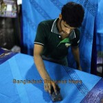 Craftsman busy on block design in Dhaka. Photo: BBN