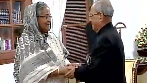 Hasina in New Delhi to attend Pranab's wife funeral