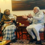 Bangladesh PM Hasina with her Indian counterpart Modi. Photo: FB page of Vikas Swarup