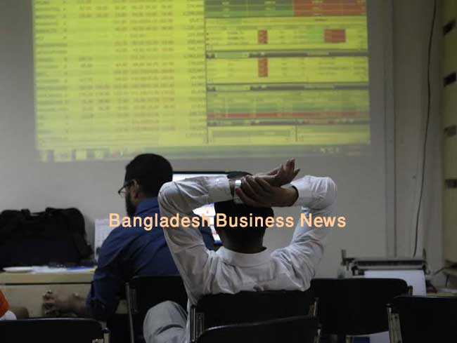 Bangladesh's stocks red at midday