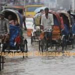 Rickshaws ply in submerged Dhaka city. Photo: BBN