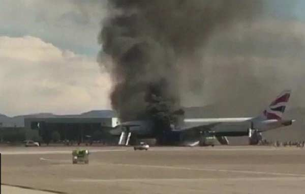 BA plane catches fire in Las Vegas