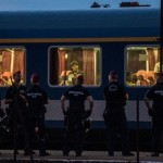 Many on board the train stayed there overnight after resisting being removed by Hungarian police. Photo: Getty Images