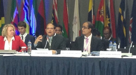 BB Governor Atiur Rahman speaking at a Commonwealth Central Bank Governors meeting in Lima