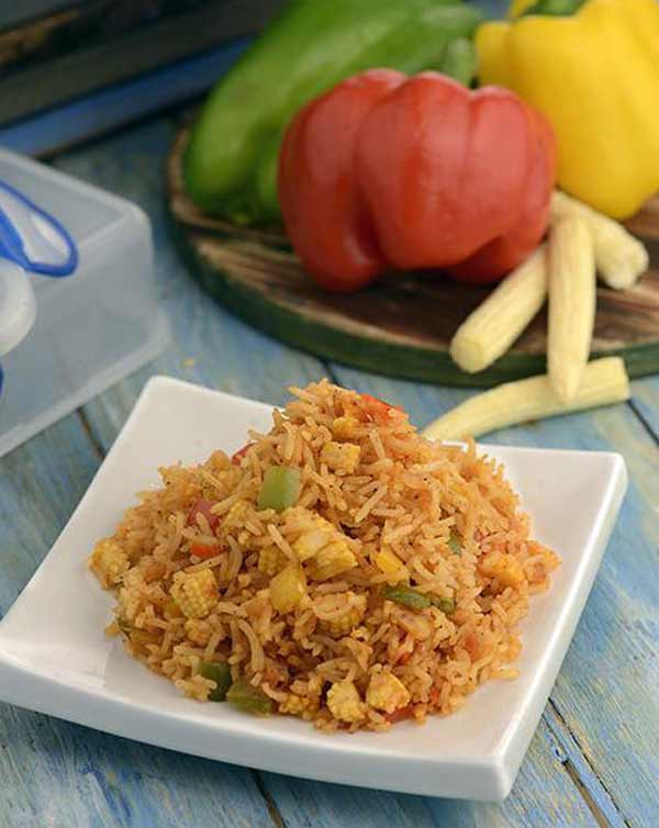 Kids tiffin recipe: Baby corn and capsicum pulao