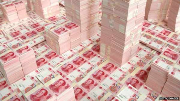 China's currency reserves plunge