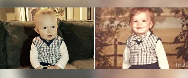 Father and son wear the same precious plaid vest 40-yrs apart
