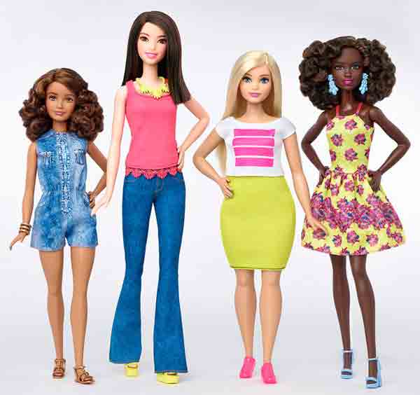 Barbie, now in tall, short and curvy