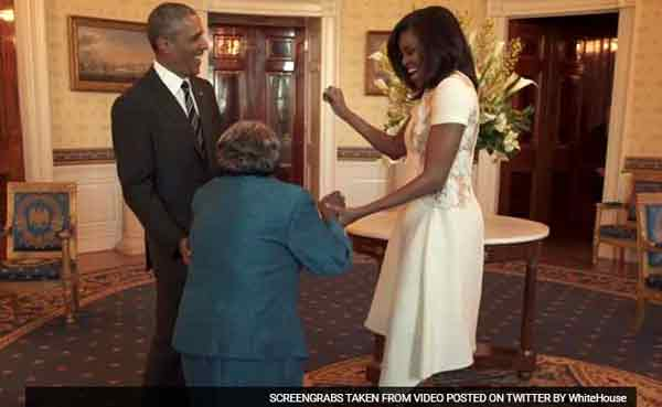 Obamas find a 106-yr-old reason to dance
