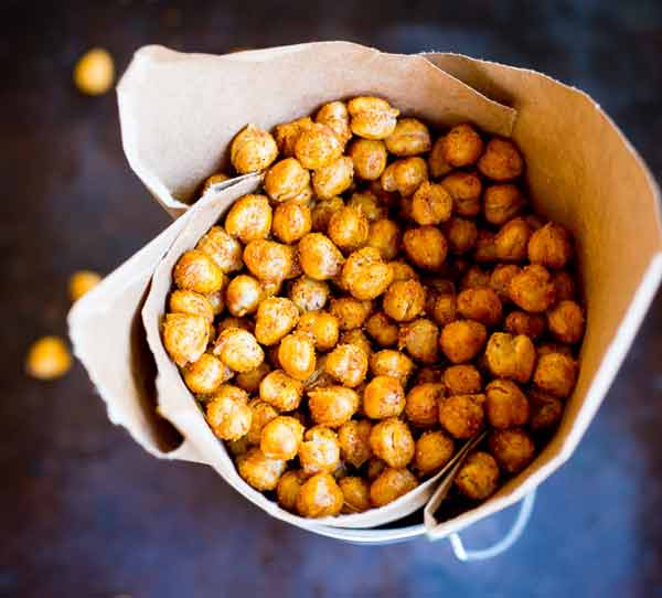 Crispy BBQ roasted chickpeas, rainy day treat