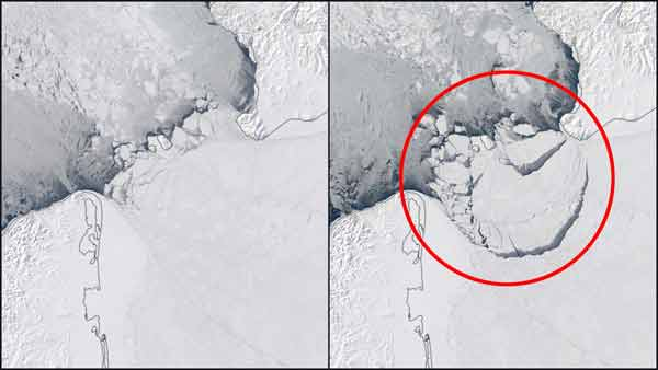 A giant sheet of ice broke off in the Arctic Ocean