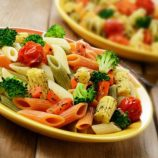 Healthy broccoli, babycorn and colourful pasta salad