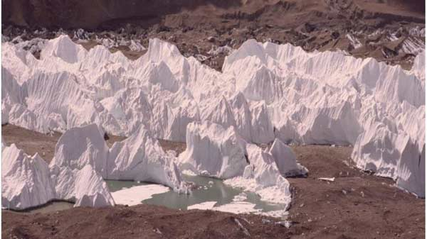 Glaciers with a flotilla of 'ice sails'