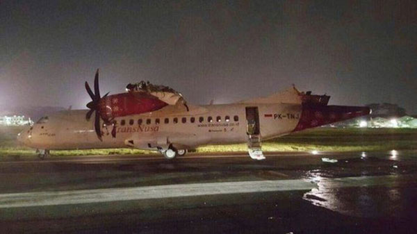 Two aeroplanes collide in Indonesian airport
