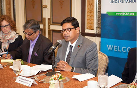 State Minister for ICT Zunaid Ahmed Palak addressing  at a discussion in New York on Friday last