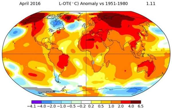 April breaks global temperature record