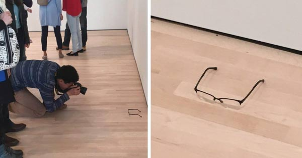 Glasses were left on the floor at a museum and everyone mistook it for art!