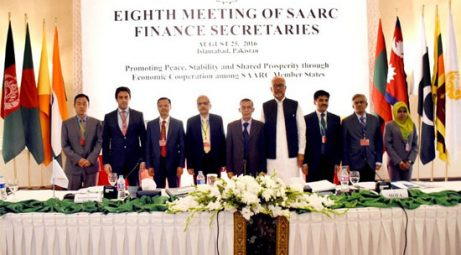 Finance secretaries pose at the 8th SAARC meeting in Islamabad on Aug 25, 2016. Photo: DAWN