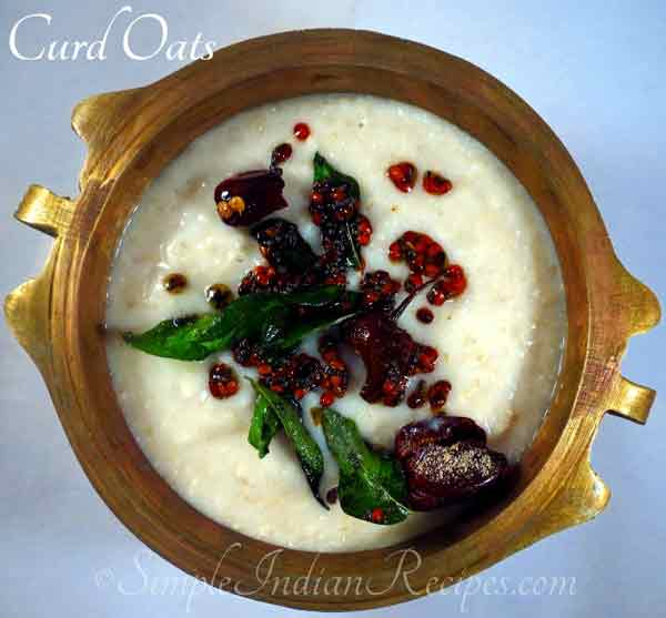 Recipe for yummy yummy  Curd Oats (Savory Yogurt Oats)