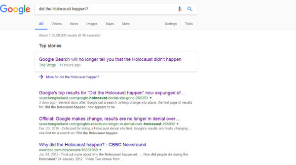 Google alters algorithm to remove Holocaust denial search results