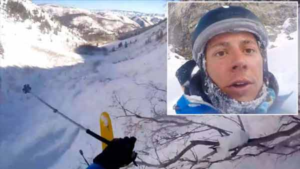 Skier goes off 150-foot cliff without a scratch