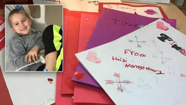 Boy, 5, battling cancer to receive 1,000 Valentine's Day cards!