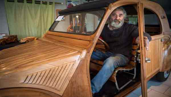 Man builds iconic car using wood. And it works!