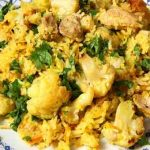 Delicious cauliflower and chicken biryani