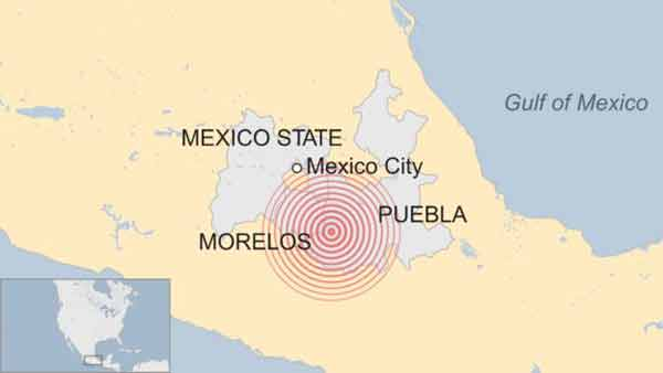 Image result for earthquake Magnitude 7.1 in Mecico september 20, 2017 map