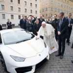 The Pope takes delivery of a Lamborghini Huracan