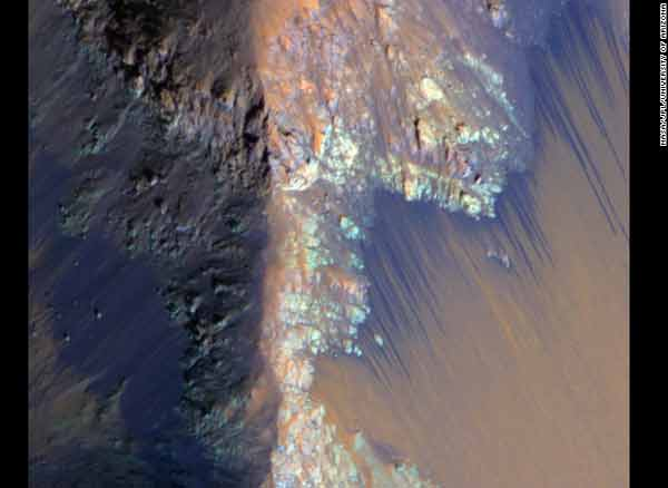 Flows of 'water' on Mars may actually be sand